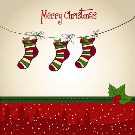 Christmas greeting card with socks  Vector