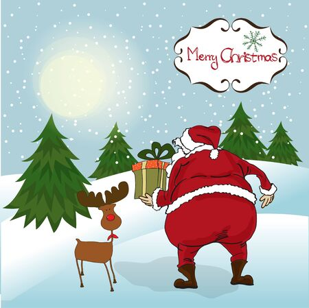 Santa coming, Christmas greeting card  Vector