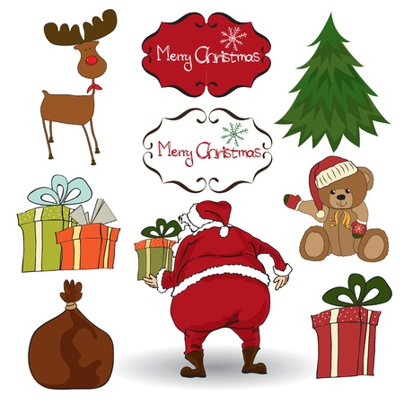 Christmas elements set isolated on white background  Vector