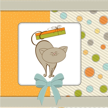 happy birthday card with cute cat  Stock Vector - 11358586