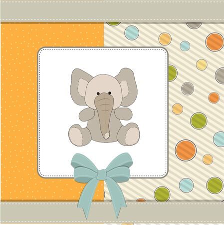 vintage baby: welcome baby card with elephant  Illustration