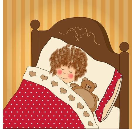 dormir habitaci�n: sue�o ni�a con su juguete Vectores