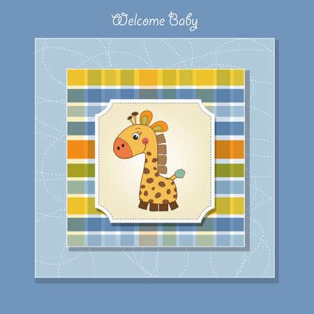 new baby card with giraffe Vector