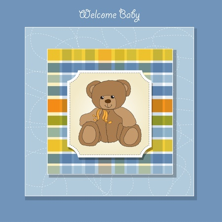 baby romantic: new baby announcement card with teddy bear