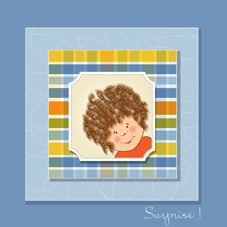 curly hair child: greeting card with curly girl  Illustration
