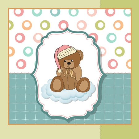 moments: baby greeting card with sleepy teddy bear
