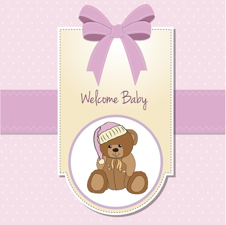 baby greeting card with sleepy teddy bear Vector