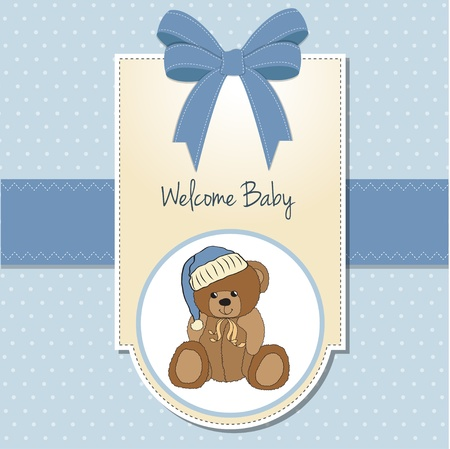 baby girl background: baby greeting card with sleepy teddy bear