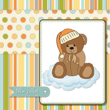 love cloud: baby greeting card with sleepy teddy bear