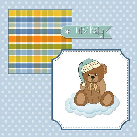 baby greeting card with sleepy teddy bear Stock Vector - 11358791
