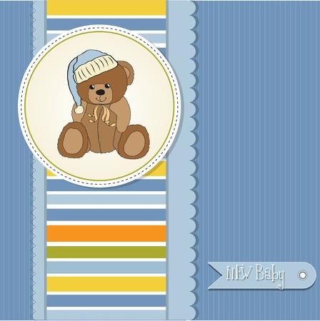 cute girl with teddy bear: baby greeting card with sleepy teddy bear