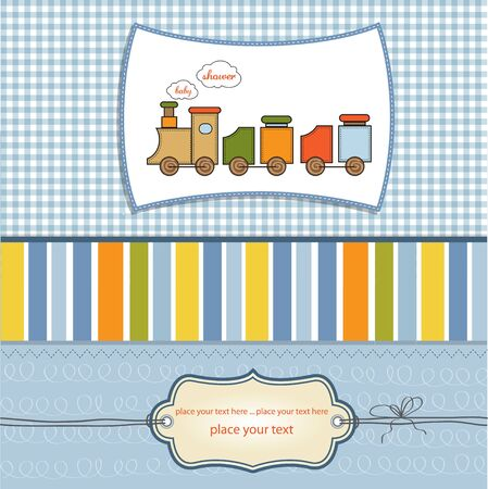 baby boy shower: baby shower card with toy train