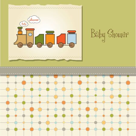 baby shower card with toy train Stock Vector - 11358514