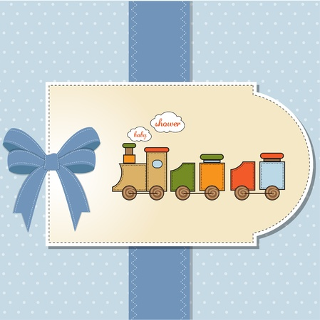 birthday train: baby shower card with toy train