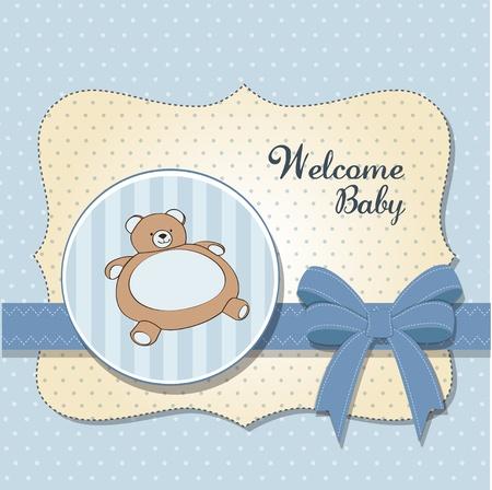 cute girl with teddy bear: baby shower card with teddy