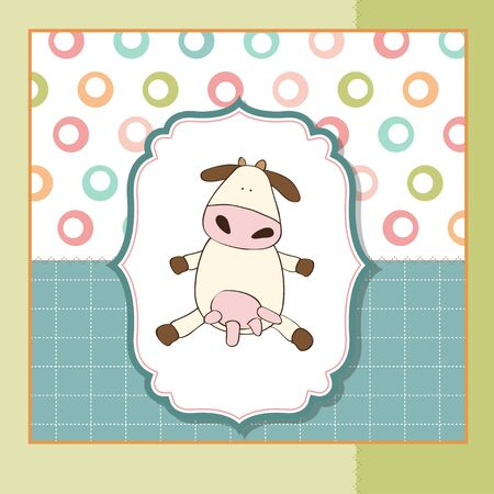 strip a cow: new baby arrived card with cow
