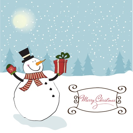 Christmas greeting card with snowman Stock Vector - 11358664