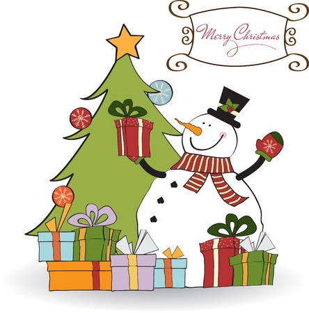 Christmas greeting card with snowman  Stock Vector - 11358406