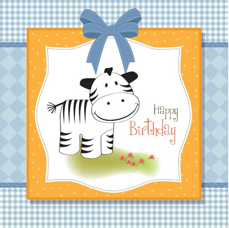 cute baby  card with zebra  Vector