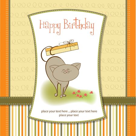 happy birthday card with cute cat Stock Vector - 11560874