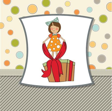 lazo regalo: una chica con una caja de regalo grande Vectores