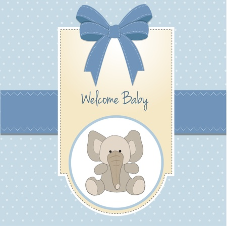baby shower party: baby boy welcome card with elephant