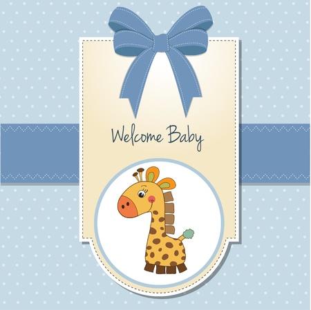 bautismo: Baby Boy Tarjeta de bienvenida con la jirafa Vectores