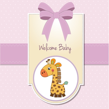 baptism background: baby girl welcome card with giraffe