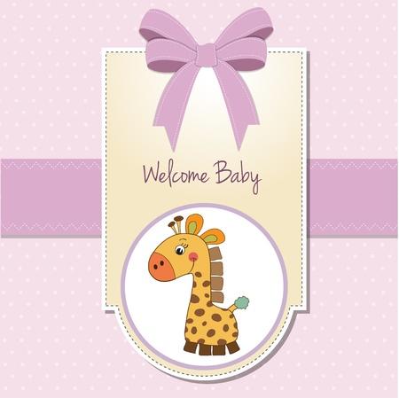 battesimo: bambino, ragazza di benvenuto con carta di giraffa Vettoriali
