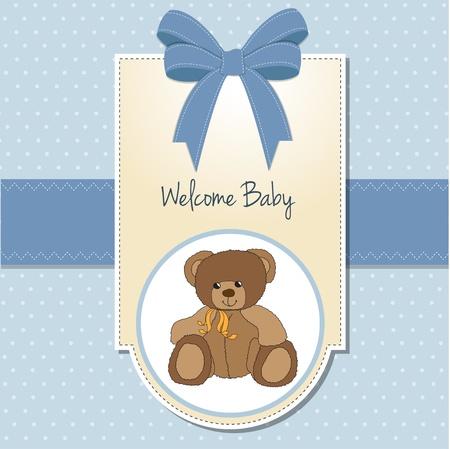 objetos cuadrados: Baby Boy Tarjeta de bienvenida con osito de peluche