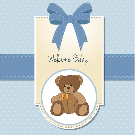 baptism: baby boy welcome card with teddy bear