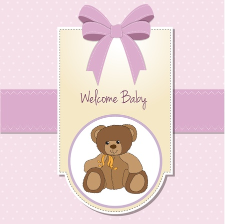 baby girl welcome card with teddy bear Vector
