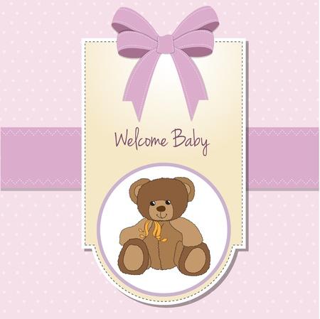 nacimiento: Ni�a de Tarjetas de bienvenida con osito de peluche Vectores
