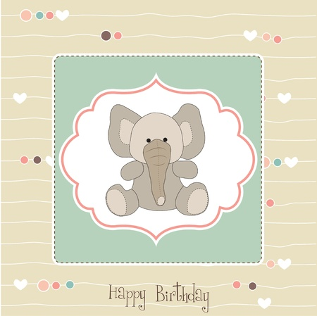 birthday greeting card with baby elephant  Vector