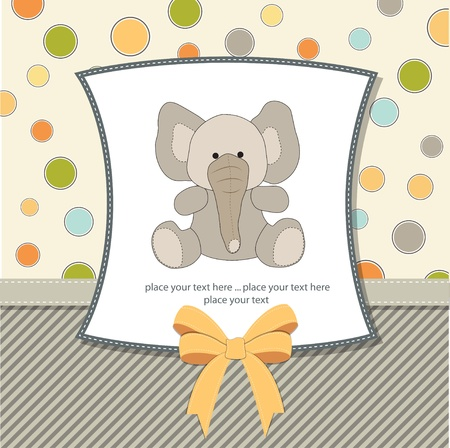 anniversary invitation: welcome baby card with elephant