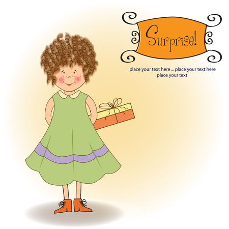 shyness: curly young girl she hide a gift