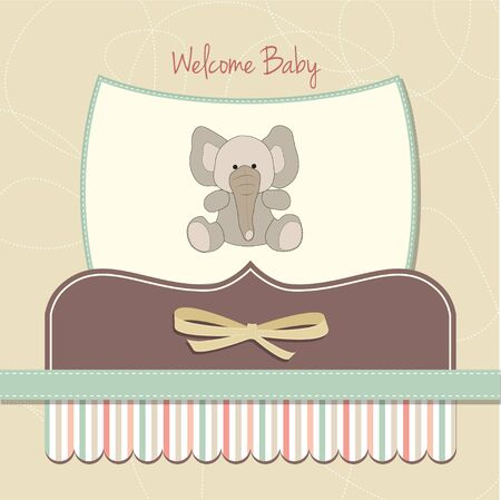 playfulness: welcome baby card with elephant  Illustration