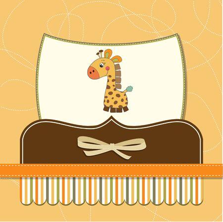 nuevo bebé anuncio de la tarjeta con la jirafa