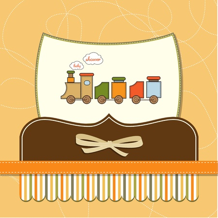 cute little boy: baby shower card with toy train