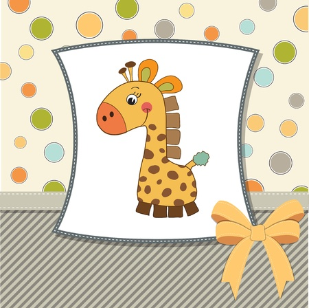 new baby announcement card with giraffe Stock Vector - 11489898