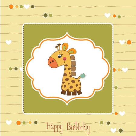 new baby announcement card with giraffe Stock Vector - 11489892