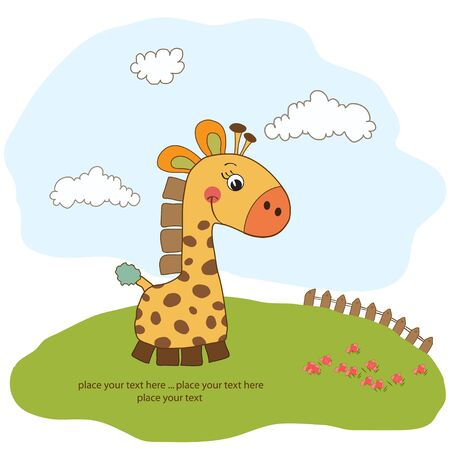 new baby announcement card with giraffe Stock Vector - 11489823