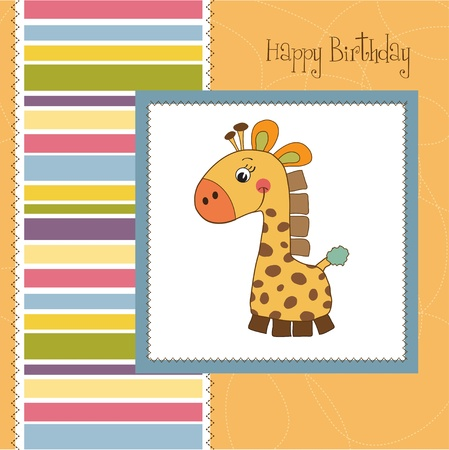 new baby announcement card with giraffe Stock Vector - 11489706