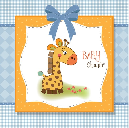 baby boy shower: new baby announcement card with giraffe