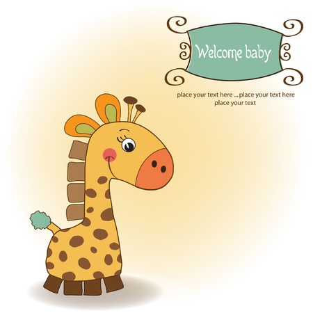 baby romantic: new baby announcement card with giraffe