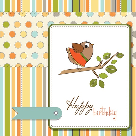 romantic greeting with funny little bird Illustration