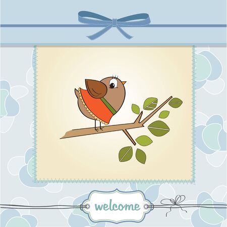 birth announcement: romantic greeting with funny little bird Illustration