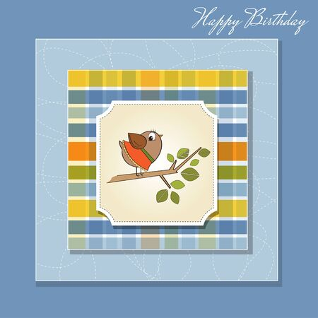 romantic greeting with funny little bird Vector