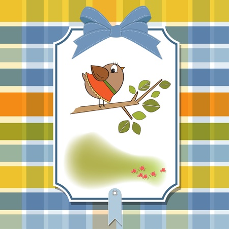 romantic greeting with funny little bird Stock Vector - 11489806