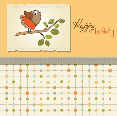 romantic greeting with funny little bird Stock Vector - 11489683